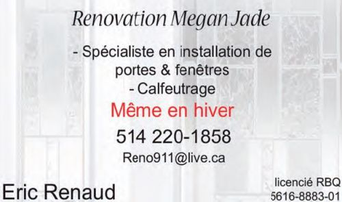Renovation Megan Jade à Laval